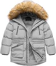 Boys' Winter Parka Water Resistant Hooded Puffer Fleece Lined Jacket
