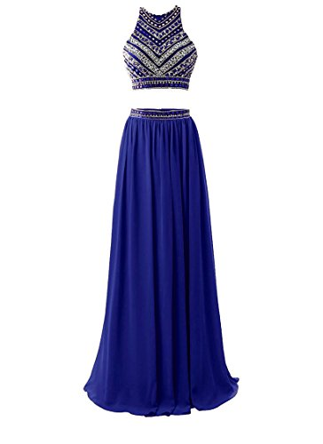 HEIMO Women's 2017 Two Pieces Beaded Evening Party Gowns Sequined Formal Prom Dresses Long H178 2 Royal Blue