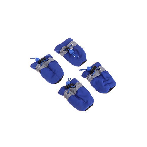 Mimgo 4Pcs Waterproof Dog Shoes Rain Footwear Snow Booties Anti-slip Shoes for Small Dog (2, Blue)