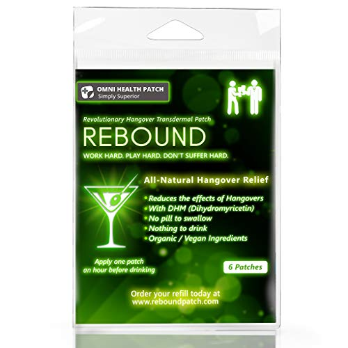 Rebound Hangover Patch 6-Day Supply Pack - Made in USA (6 Patches) - $6.99 - Organic Vegan - Sugar, Latex, Gluten Free