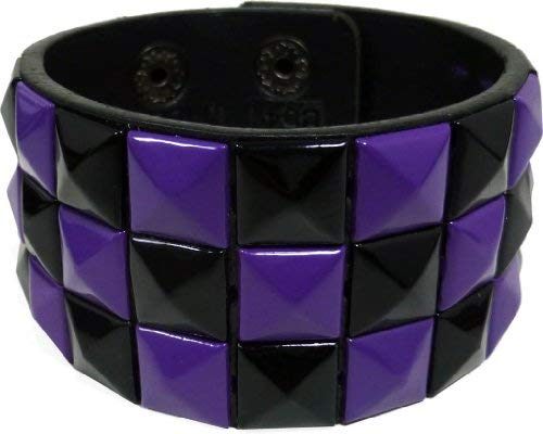 (JTC Belt Triple Studded Leather Adjustable Bracelet Black & Purple Checkered)