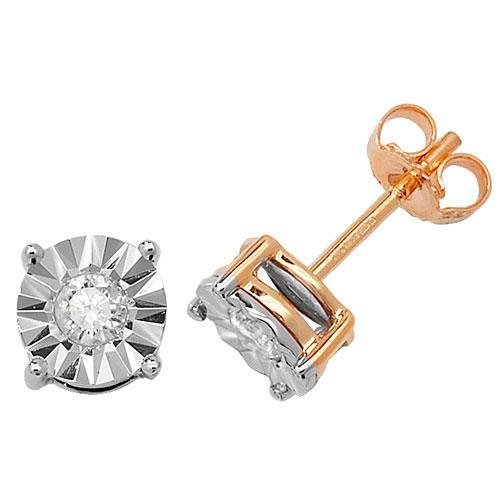 Boucles d'oreille à tige avec diamants Illusion Lot de 9 ct hpk2 0.31 ct
