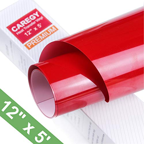 CAREGY Iron on Heat Transfer Vinyl Roll HTV (12x5,Red)
