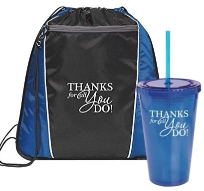 2 Piece Gift Set -Thank You Backpack & Tumbler Set/Corporate Thank You Gifts/Teacher Thank You/Event Thank You Bag/Nurse Thanks for all You Do/Holiday Thank You Gift Set