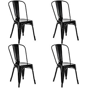 Costway Set of 4 Tolix Style Dining Chair Metal Stackable Industrial Vintage Chic High Back Indoor Outdoor Dining Bistro…