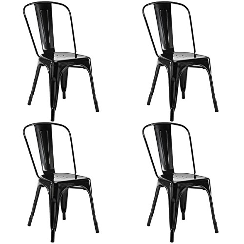 Stackable Bistro (COSTWAY 4 Set of 4 Tolix Style Metal Stackable Industrial Vintage Chic High Back Indoor Outdoor Dining Bistro Café Kitchen Side Chair (Black))