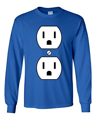 Long Sleeve Adult T-Shirt Plug Outlet Face Party Costume Funny Humor DT (XXX Large, Royal Blue) (Plug And Outlet Costume)