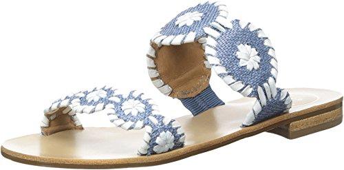 Jack Rogers Women's Lauren Raffia Dress Sandal, Blue Raffia, 6 M US -
