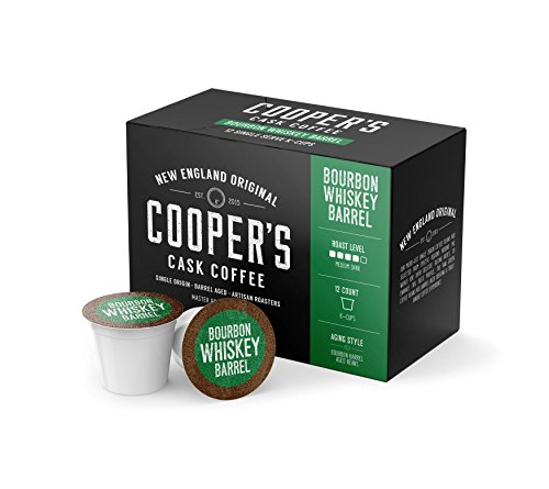 Bourbon Barrel Aged K-cups Coffee, 12 ct Bourbon K-cup Box Set - Grade 1 Single Origin Colombian Coffee Aged Bourbon Barrels, 12count