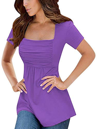 Fitted Baby Doll Tee - Yesfashion Womens Square Neck Ruched Tops Empire Waist Tunics Short Sleeve Light Purple S