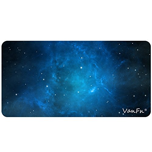 VanFn Mouse Pads, Large Extended Gaming Mouse Pad Mat, Computer Game Mouse Mat, Waterproof Desk Keyboard Mat, Stitched Edges, Ultra Thick 3mm, Anti-slip Rubber Base (11.8 x 23.6 inches, Sky Blue) by VanFn