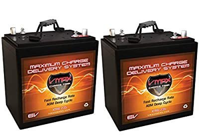 Qty 2: VMAX XTR6-235 6 Volt 235Ah Group GC2 AGM Deep Cycle Battery. Capacity: 235Ah; Energy: 1.62kWH Each; Reserve Capacity: 500min Each