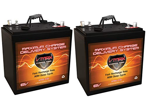 Qty 2: VMAX XTR6-235 6 Volt 235Ah Group GC2 AGM Deep Cycle Battery. Capacity: 235Ah; Energy: 1.62kWH Each; Reserve Capacity: 500min - Deep Battery Vmaxtanks Cycle