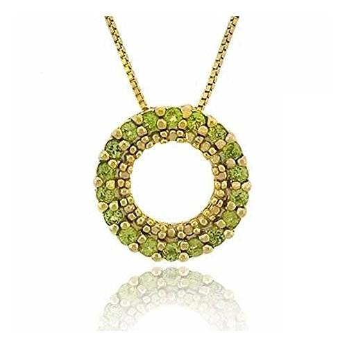 Glitzs Jewels Gold Tone Over Sterling Silver 1/2Ct Peridot Circle Eternity Pendant, 18''