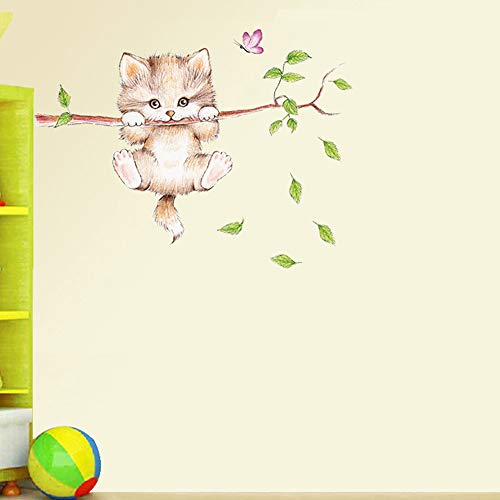 Animal Wall Stickers, Cute Cat Wall Self-Adhesive Decorative Decals, Used for Home Nursery, Classroom, Office Decoration 5