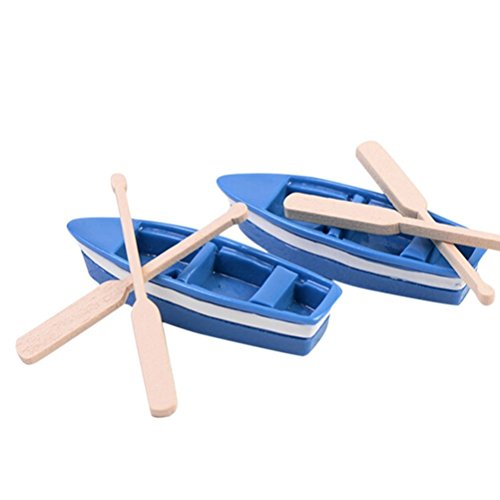 - COOLTOP Mediterranean Style Fairy Garden Miniature Rowboat Little Blue Wood Boat with Oars(2 Sets) (Miniature Rowboat)