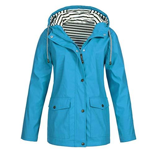 - NRUTUP Women Solid Rain Jacket Outdoor Plus Waterproof Hooded Raincoat Windproof Overcoat (Sky Blue,M)