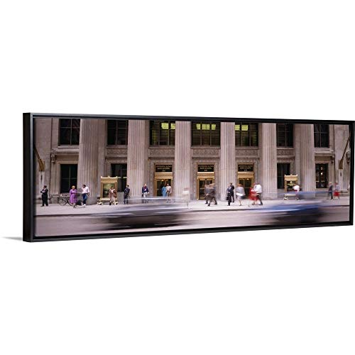 Bank Chicago Lasalle (Floating Frame Premium Canvas with Black Frame Wall Art Print Entitled Lasalle Street Chicago IL 36
