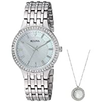 Bulova Womens Quartz Crystal Accents 32mm Watch and Pendant Deals