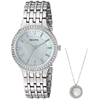 Bulova Women's Crystal Watch & Pendant Set