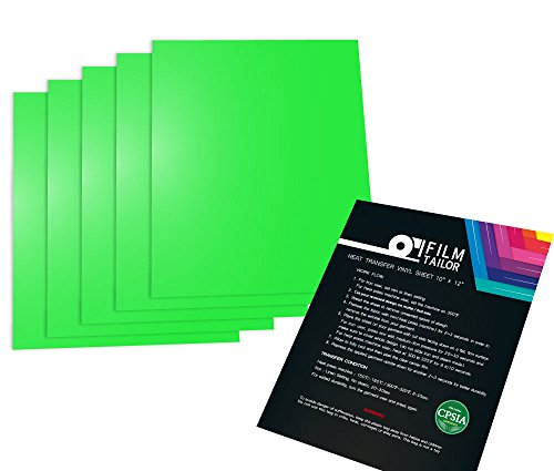 FilmTailor [PU HTV] 10 x 12 Heat Transfer Vinyl Basic 5 Sheets Excellent for T-Shirt, Hats and Any Fabric, Iron on for Silhouette Cameo, Cricut, Heat Press Machines. (Neon Green)