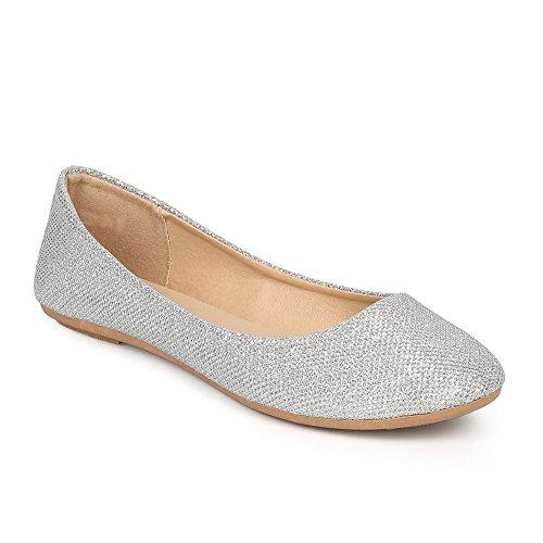(Women's Shiny Glitter Ballet Flats Slip On Dress Ballerina Sparkle Wedding Shoes Silver)