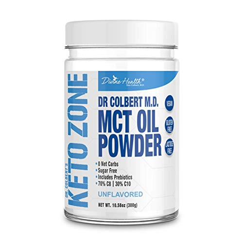Keto Zone MCT Oil Powder | Unflavored | 300 Grams & 30 Day Supply | Recommended in Dr. Colberts Keto Zone Diet | Ketogenic Creamer | Best MCT Powder | 70% C8 30% C10 | 0 Net Carbs