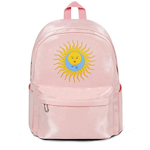 Womens Girl Boys Bag Purse Fashion Nylon Durable Travel Daypack Backpack King-Crimson-Logo-Larks'-Tongues-in-Aspic- Bag Pink