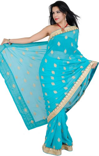 Exotic India Sari with Metallic Thread Embroidered Boot - Color Scuba Blue by Exotic India