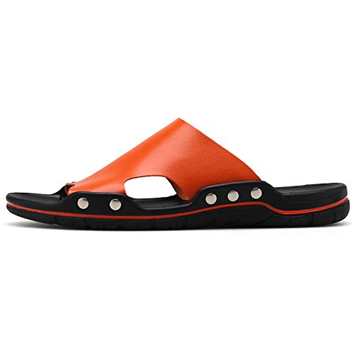 Leather Beach Shoes Pool Slide Toe Non Sandals Hattie Orange Open Slip Men's CXvqp