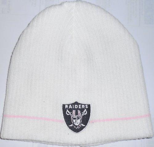 Oakland Raiders NFL Womens Pink Stripe Winter Beanie Cap Hat