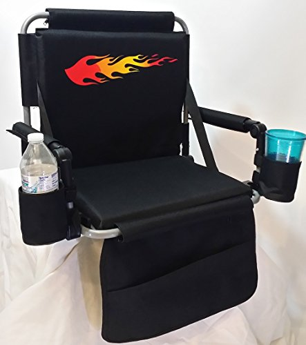 SAME DAY SHIPPING----Hot Rod Folding Stadium Seat Product-5 Years Warranty-buy TWO Chairs and Receive a Bonus Blanket with Your Order!! (Available Only in Navy Blue and Red)