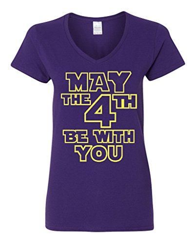 City Shirts V Neck Ladies May The 4Th Be With You Movie Tv Funny Parody T Shirt Tee  Large  Purple W Yellow
