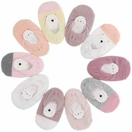 Toddler Anti Slip No Show Socks - Low Cut Non Skid Grip Slippers for Baby Kids Boys Girls (Pack of 5/10)