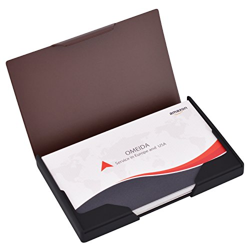 MaxGear Professional Business Card Holder, Men's Business Name Cards Organizer Titanium & Stainless Steel Business Card Case/Holder for Work Matte Brown