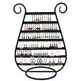 Adorox 1 pc Black Metal Harp Design Jewelry Earring Rack Holder Stand (Black (1 Stand))