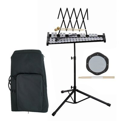 Band Directors Choice Educational Bell Kit Pack Deluxe w/Carry Bag, Drum Practice Pad, Red Light Up Drumsticks & BONUS Black Rhythm Percussion Shakers