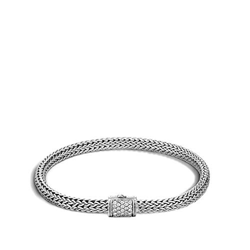 John Hardy Women's Classic Chain Silver Diamond Pave Extra-Small Bracelet (0.18ct), Size L