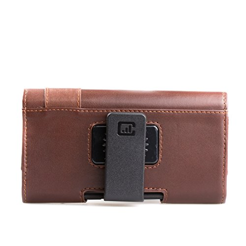 [Gorilla Clip] CASE123 MPS MK II TL Genuine Leather Horizontal Oversized Swivel Belt Clip Holster for Apple iPhone X for use Otterbox Commuter, Symmetry, and rugged cases - Dark Cognac Cowhide by CASE123 (Image #3)