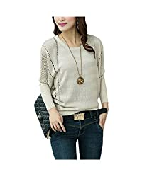 ARJOSA Women's Fashion Cable Knit Stretchy Batwing Sleeve Crewneck Pullovers Sweater