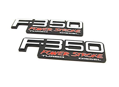 Truck Emblem Warehouse 2 New (Pair) Set Custom 94-98 OBS F350 Powerstroke Turbo Diesel Fender Badges ()