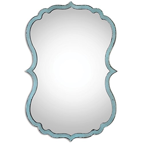 My Swanky Home Unusual Curved Blue Frame Oval Wall Mirror | Scalloped -