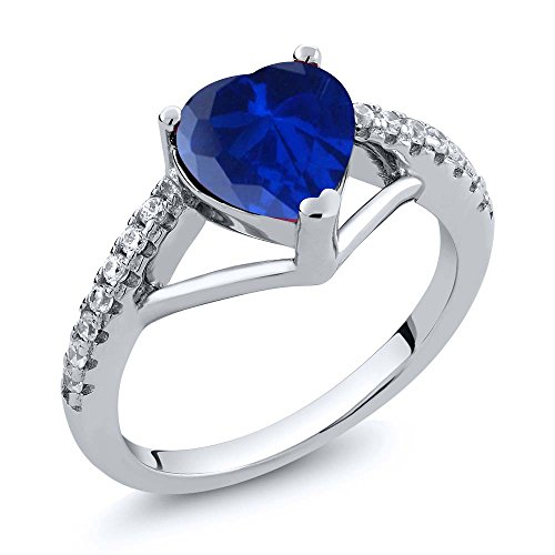 1.26 Ct Heart Shape Blue Simulated Sapphire 925 Sterling Silver Ring (1.26 Ct Heart)