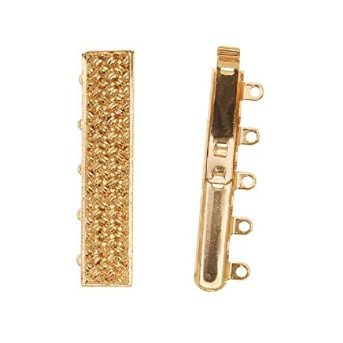 23K Gold Plated 5-Strand Box Clasp - Crosshatched Rectangle 31.5x7mm (1)