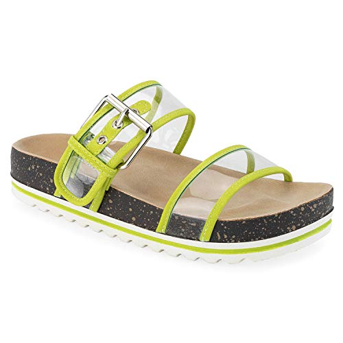 RF ROOM OF FASHION Women's Double Clear Band White Lugged Sole Footbed Slides Sandals Lime Size.7