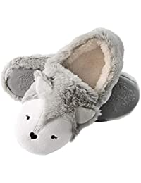 Womens Fox Fleece Animal Cozy House Slippers Indoor Outdoor