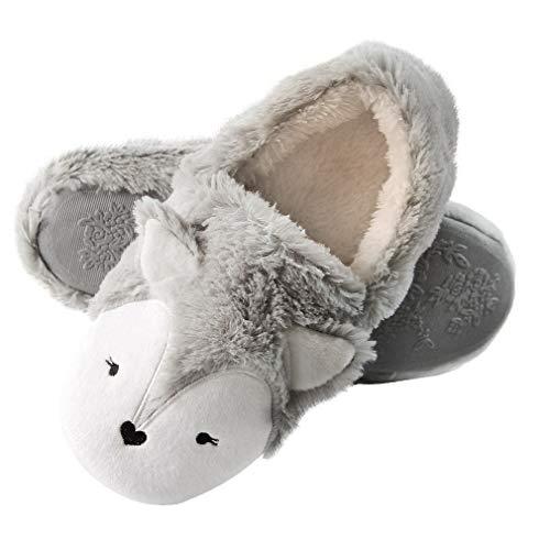 Plush Animal Slippers - FoxFleeceSlippers |Cute Animal House Slippers |Comfort Plush SlippersforWomen |Cozy Novelty Fox Slippers (5.5-6.5, Fox) Dark Grey