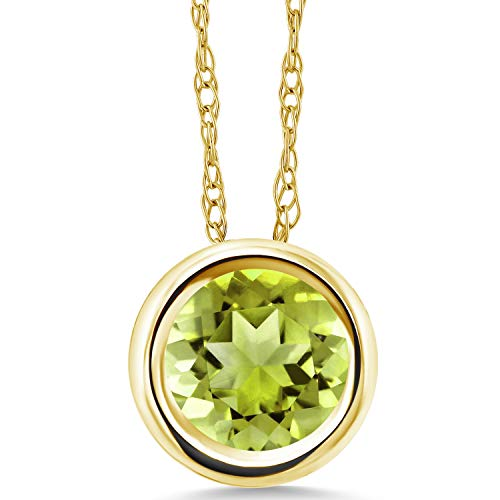 (Gem Stone King 0.85 Ct Round Green Peridot 14K Yellow Gold Pendant With Chain)