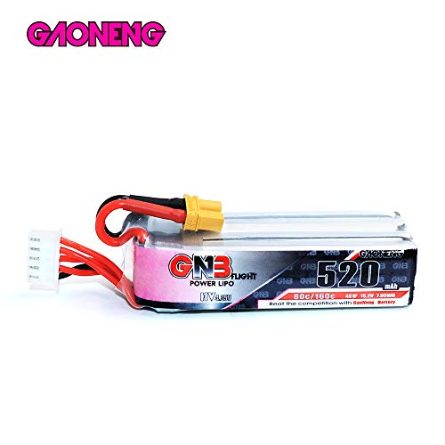 - GAONENG GNB 520mAh 4S LiPo Battery 80C HV 15.2V XT30 Connector, High Discharge Rate Polymer Battery for Racing FPV Drone Beta 85X
