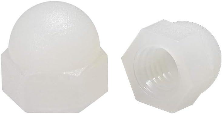 Tuercas de cabeza de c/úpula de bellota hexagonal para Tornillos Pernos de Nylon 10 uds blanco sourcing map Tuerca de casquillo M3